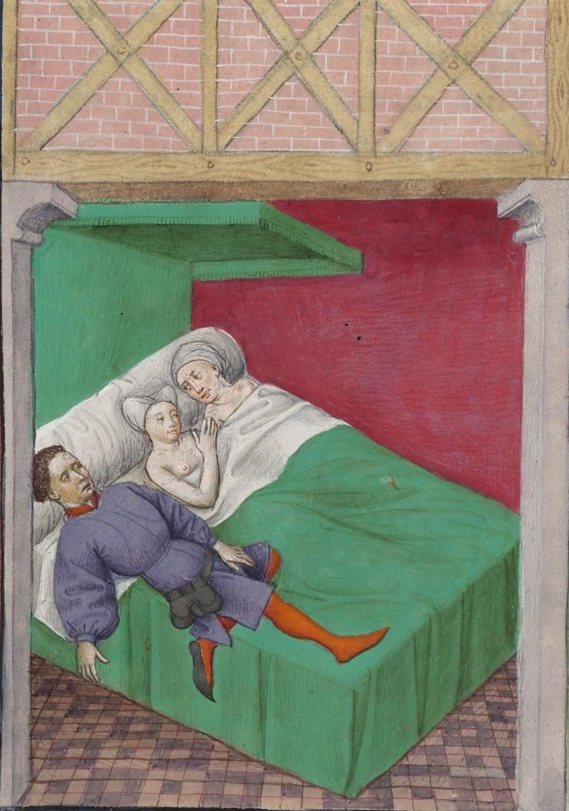 Ménage à trois, Décaméron, XIVe siècle, Paris, Bibliothèque de l'Arsenal, ms 5070, folio 170 verso (XVe siècle)