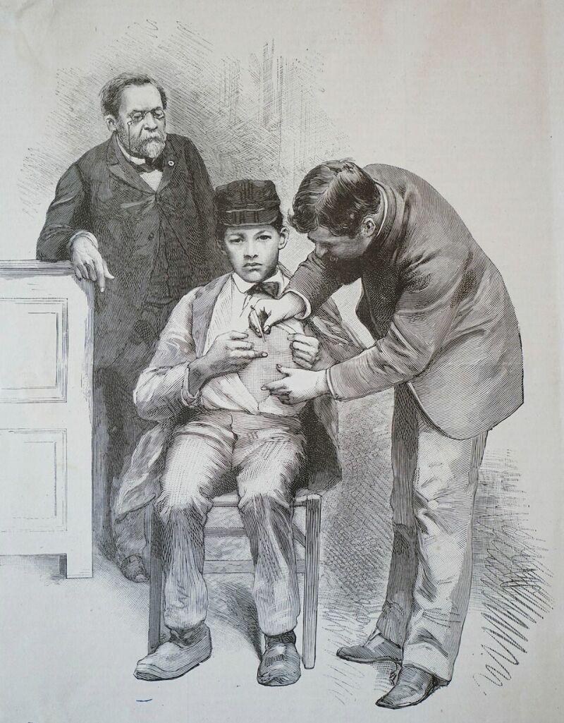 Vue de l'exposition Pasteur à Arbois - Inoculation du virus rabique