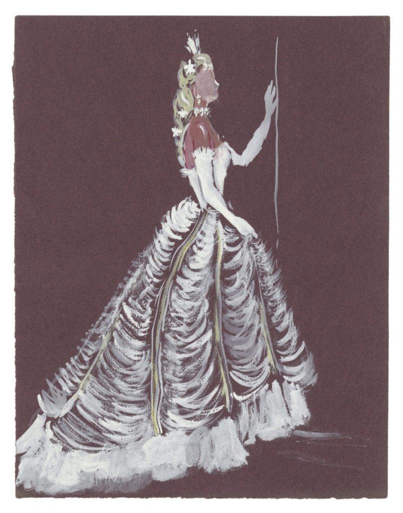 Yves Saint Laurent (1936-2008)Croquis de costume (non réalisé) pour La Reine dans la pièce L'Aigle à Deux Têtes de Jean Cocteau, 1951Musée Yves Saint Laurent Paris