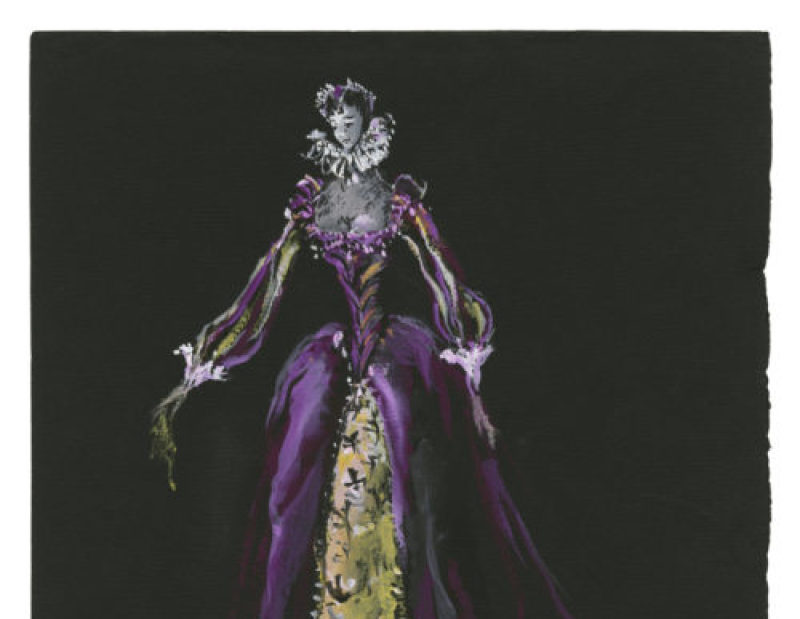 Yves Saint Laurent (1936-2008) Croquis de costume (non réalisé) pour Madame de Vermont, dans la pièce La Reine Margot,d'après le roman éponyme d'Alexandre Dumas, 1953Musée Yves Saint Laurent Paris