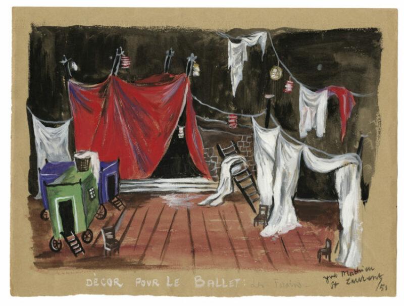 Yves Saint Laurent (1936-2008)Croquis de décor (non réalisé)pourle ballet Les Forains d'Henri Sauguet, 1951 Musée Yves Saint Laurent Paris