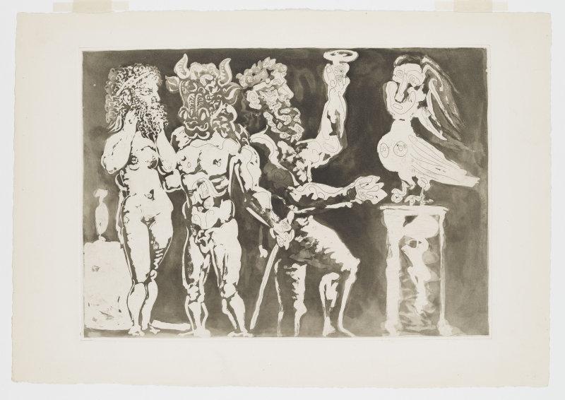 Pablo Picasso, Chez la pythie-harpye. Homme au masque de minotaure et femme au masque de sculpteur