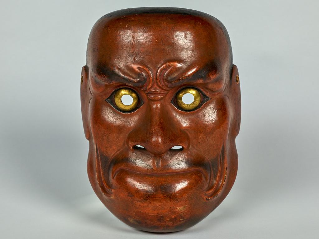 Masque de nô représentant un démon de type Beshimi