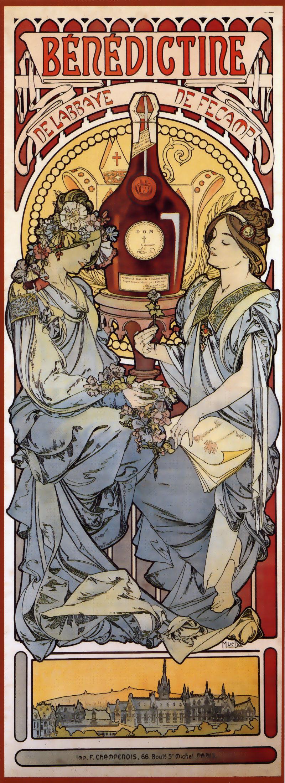 Ancienne publicité Mucha pour la liqueur Bénédictine