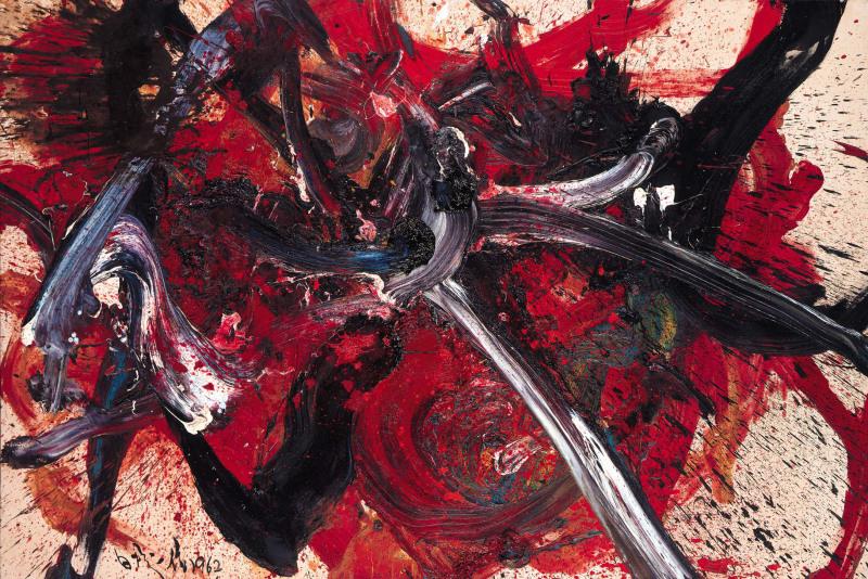 Shiraga Kazuo, Tenkansei Nyuunryu, 1962. Huile sur toile 182,2 x 272,6 cm.
