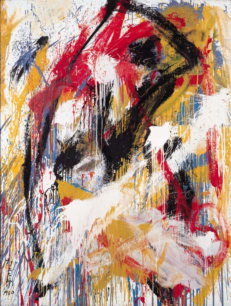 Murakami Saburo, Work, 1960. Huile sur toile, contreplaqué 183,2 x 139,7 cm.