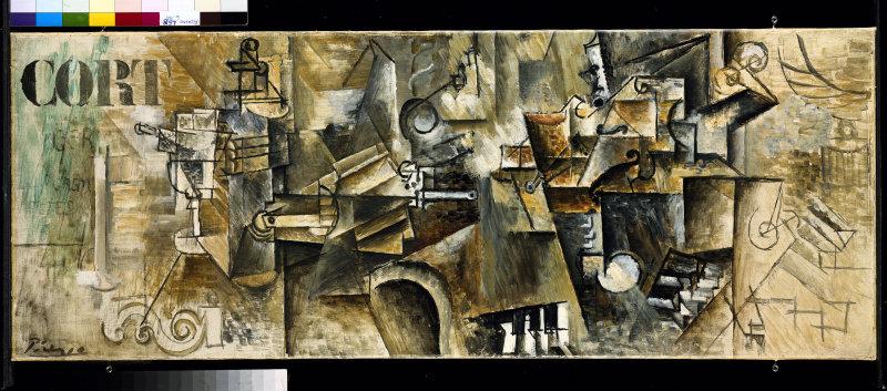 Person: Pablo Picasso [25.10.1881 - 8.4.1973], Spanischer Maler, Grafiker und Bildhauer <BR>Datierung: 1911-12<BR>Material/Technik: Gemälde / Öl auf Leinwand<BR>Bildmaß 50 x 130 cm<BR>Inventar-Nr.: NG MB 17/2000<BR>, Artist: Pablo Picasso