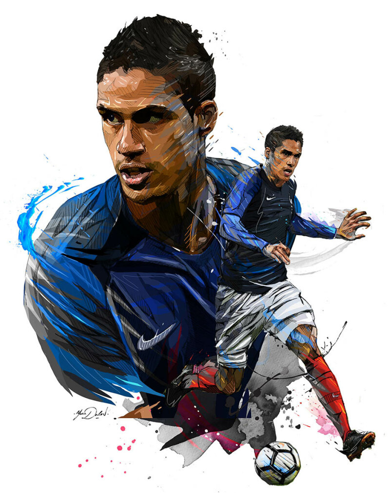 France's defender Raphael Varane controls the ball during the FIFA World Cup 2018 qualification football match between France and Belarus at the Stade de France in Saint-Denis, north of Paris, on October 10, 2017.  / AFP PHOTO / FRANCK FIFE