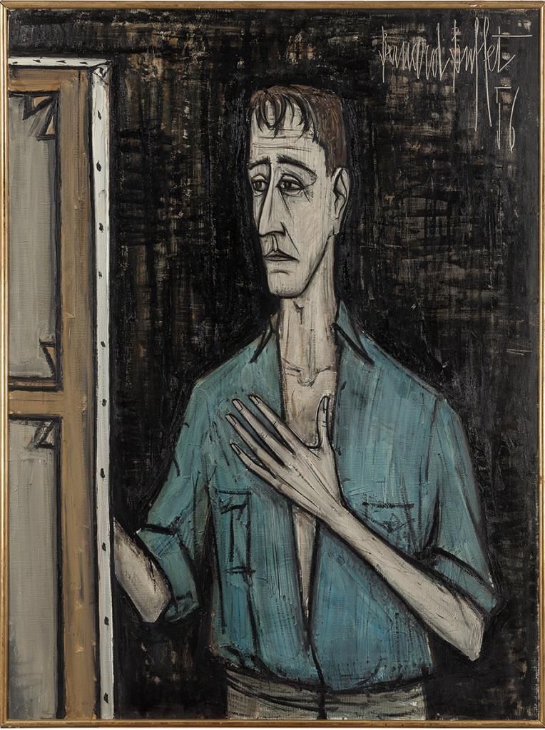 Bernard Buffet, Autoportrait sur fond noir, 1956, Huile sur toile, 130 x 97 cm