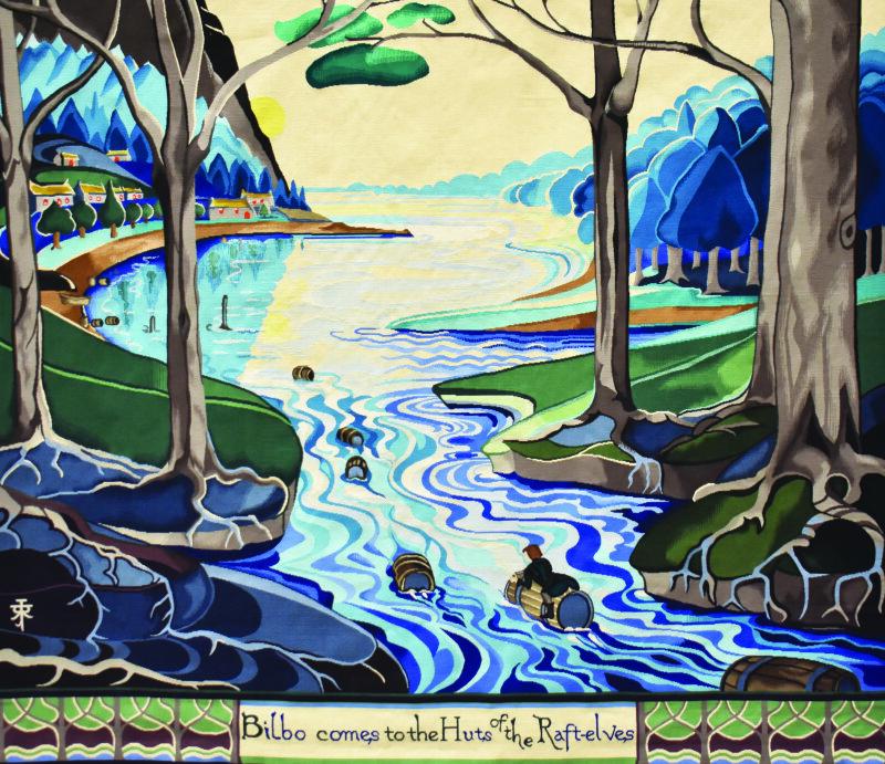 """Détail de la toile """"Bilbo comes to the Huts of the Raft-Elves"""""""