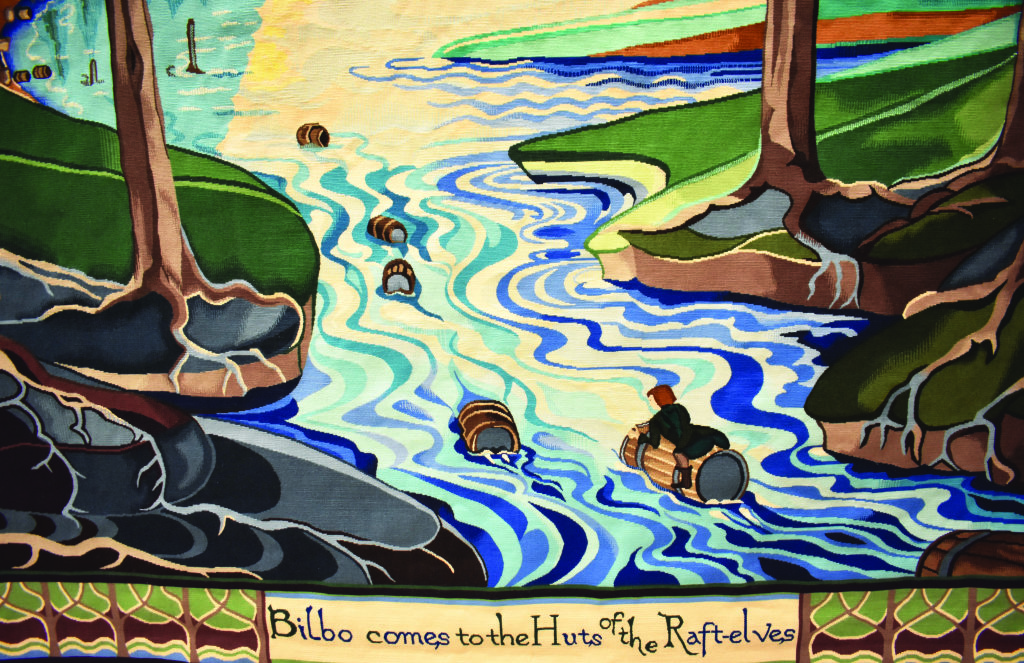 "Détail de la toile ""Bilbo comes to the Huts of the Raft-Elves"""