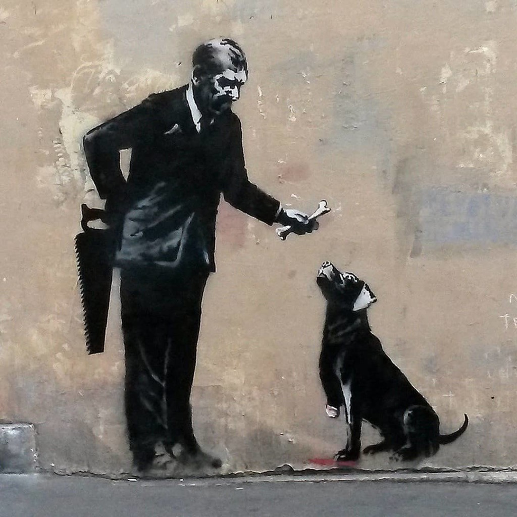 © Banksy - Horrible owner & dog