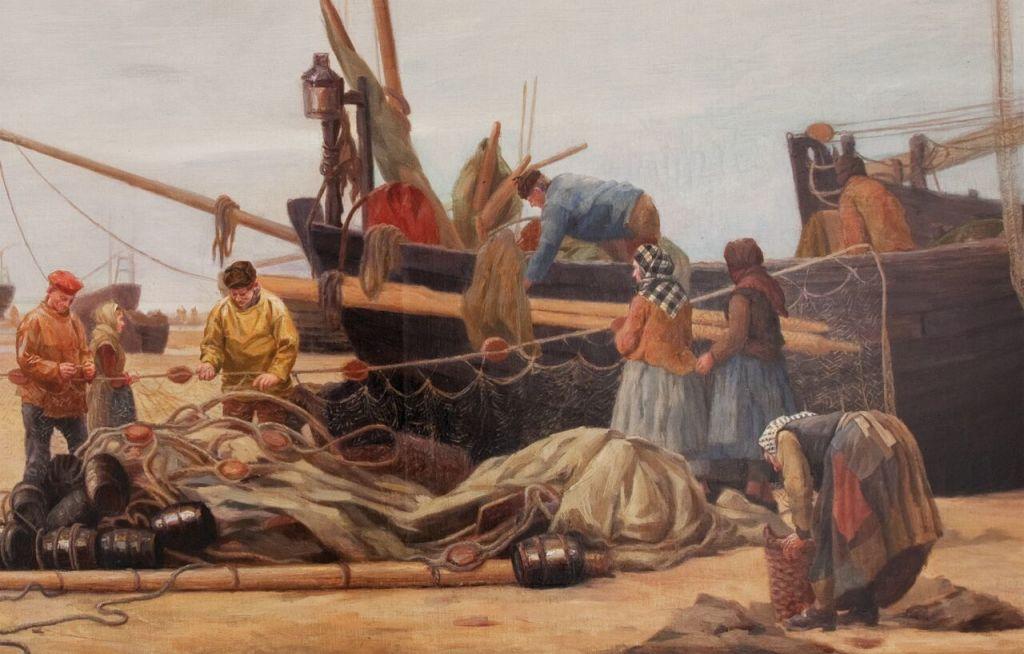 Charles Roussel, Préparatifs de pêche au hareng, détail.
