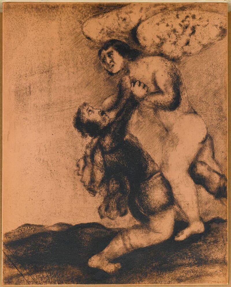 Cuivre de Lutte de Jacob avec l'ange (Genèse, XXXII, 24-30) Illustration de la Bible, 1931-1934