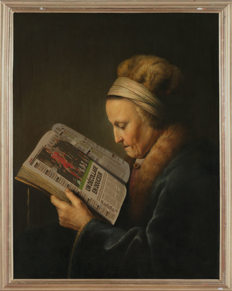 """Lundi matin d'après """"Vieille femme lisant un livre"""" de Gérard Dou"""