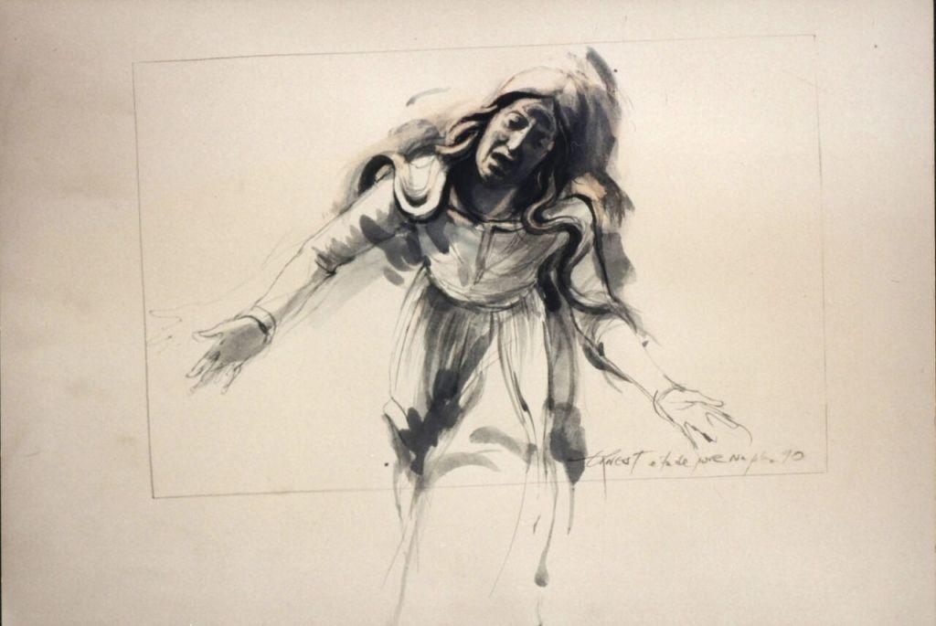 Ernest Pignon Ernest - étude à partir de sculptures O lamiento