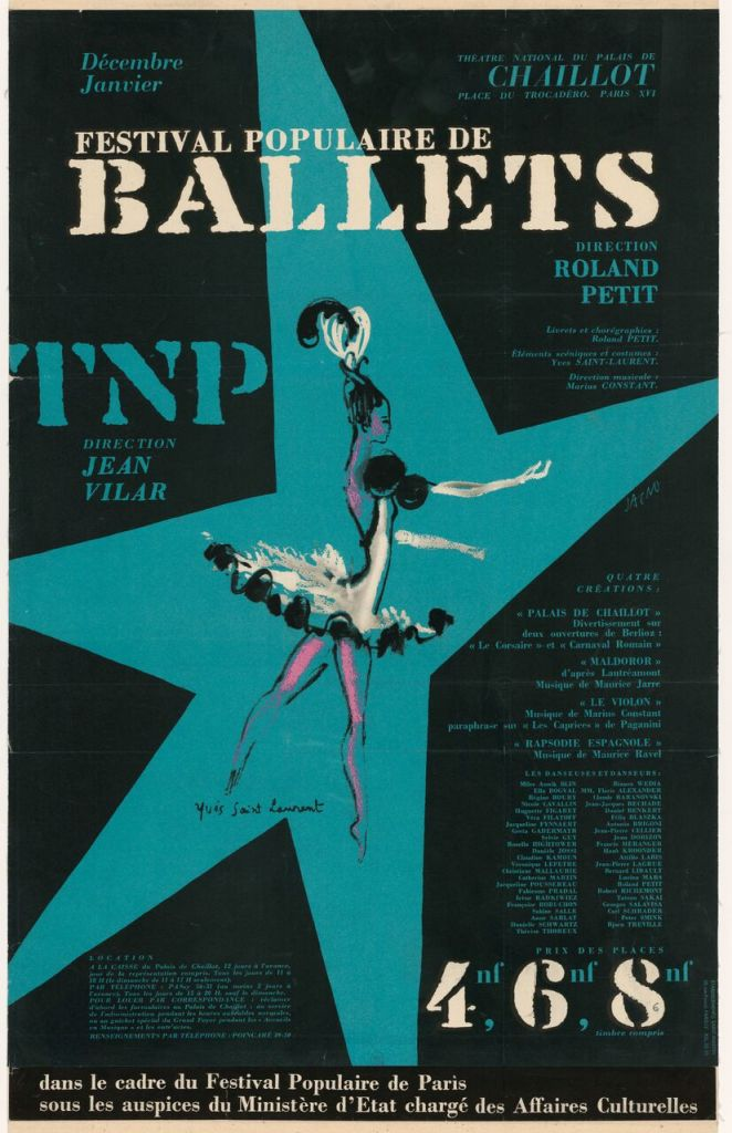 Festival populaire de ballets, Affiche du Théâtre National Populaire par Marcel Jacno, illustrée d'une dessin d'Yves Saint Laurent (1936-2008), décembre 1962 - janvier 1963