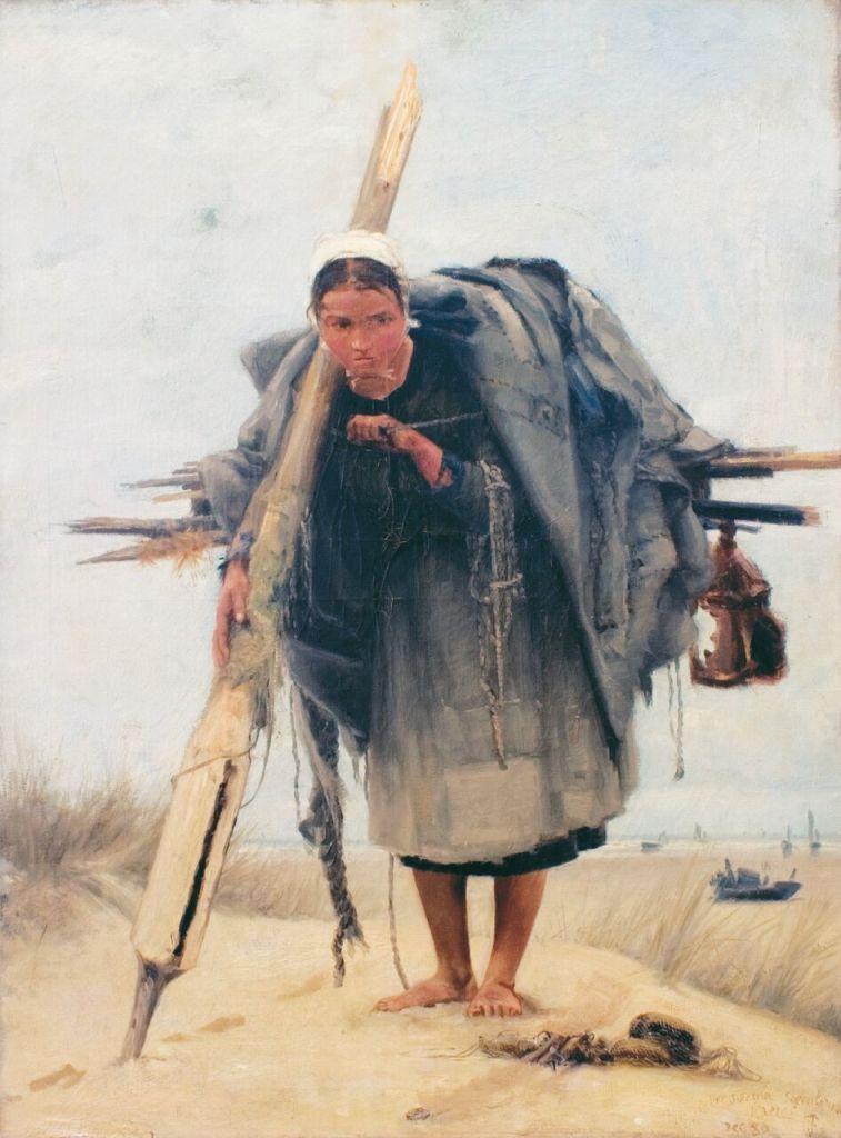 Francis Tattegrain, La ramasseuse d'épaves. 1880
