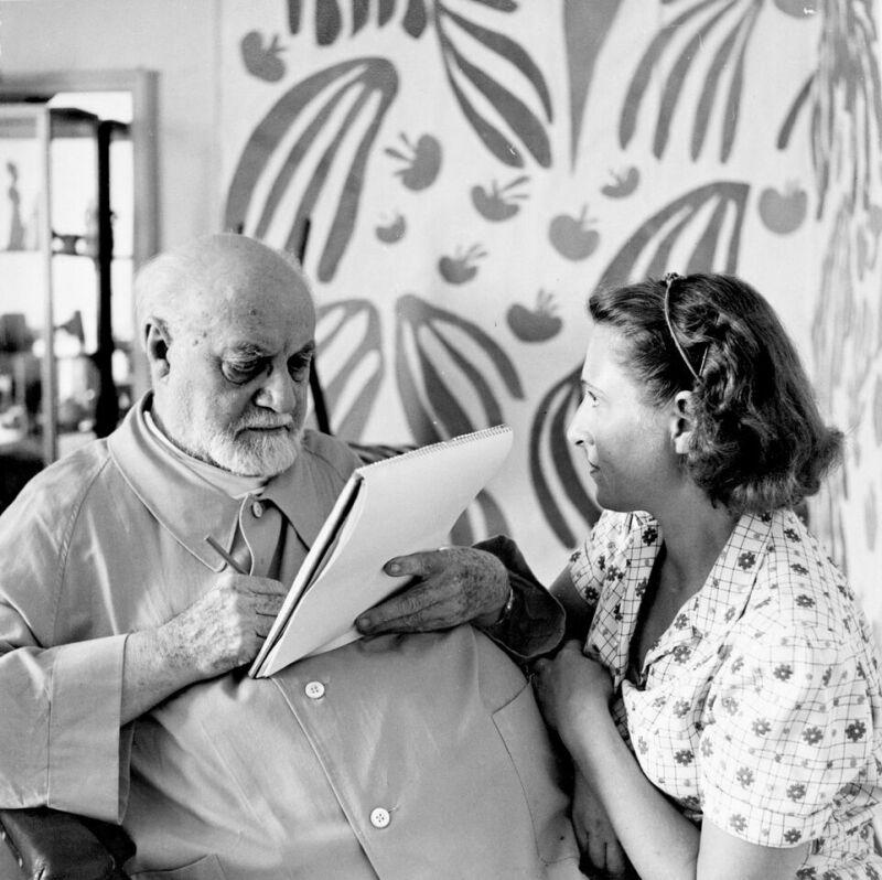 Hélène Adant Matisse dessine Lydia,Le Régina, Nice, 1952
