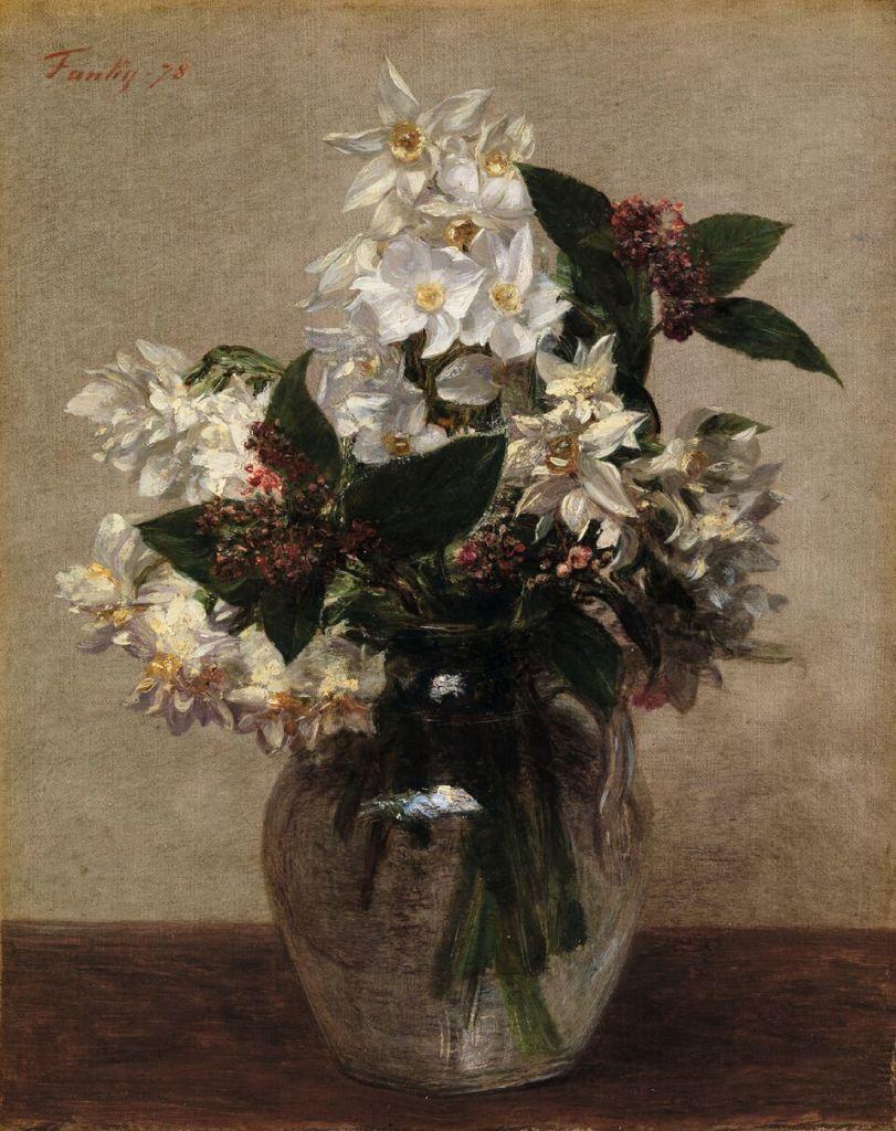 Henri Fantin-Latour (1836 -1904) Fleurs de printemps Narcisses et lierre, 1878