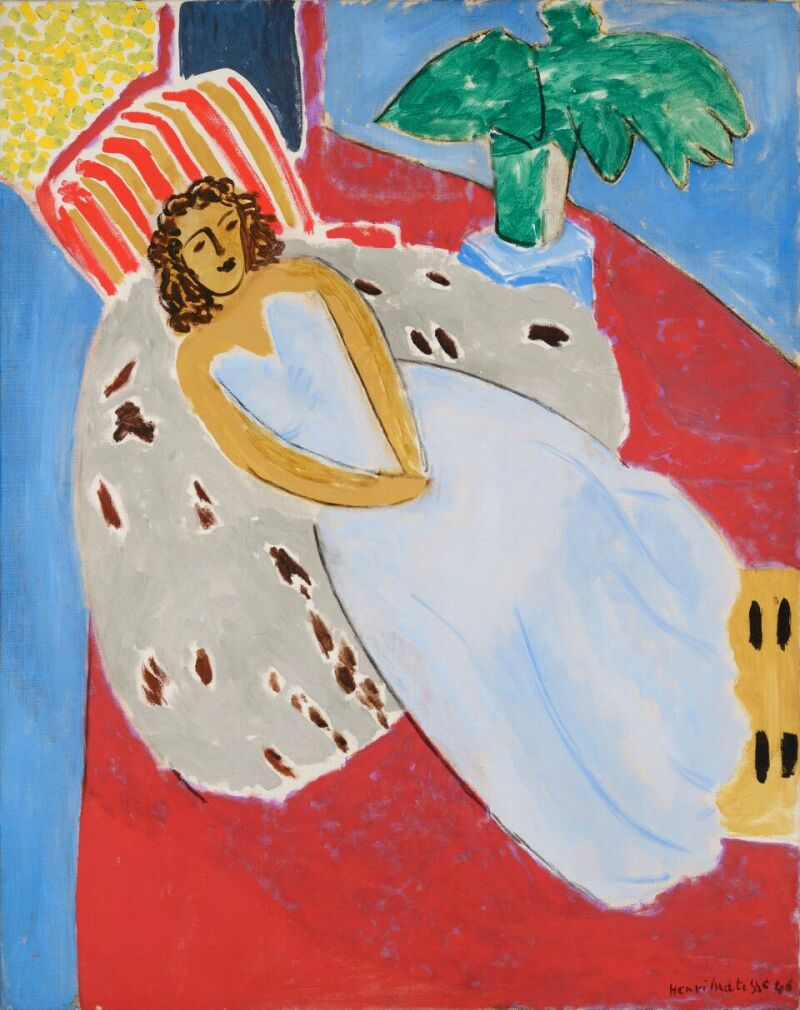 Henri Matisse Jeune fille en blanc, fond rouge, hiver 1946