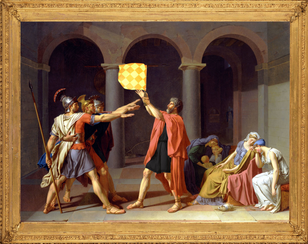 """Hors-jeu d'après """"Le Serment des Horaces"""" de Jacques-Louis David"""