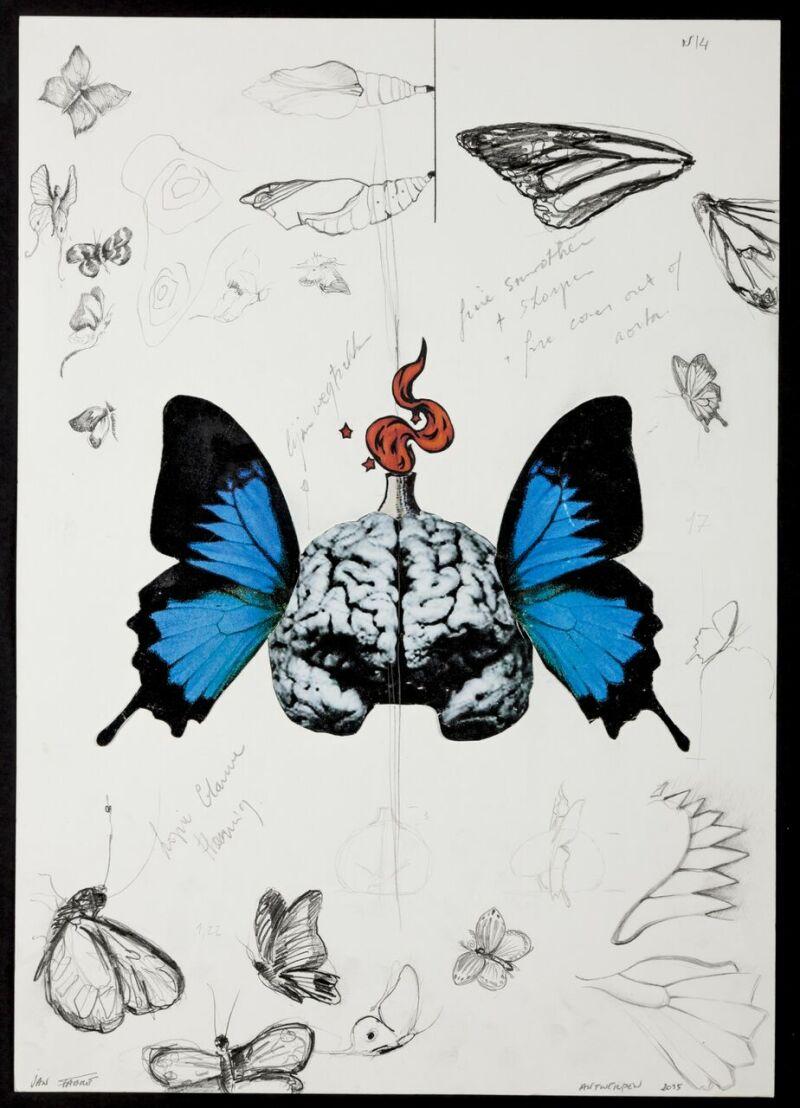 Jan Fabre, Collage-dessin pour Sacrum Cerebrum XX(Le siège en éruption de l'âme), 2015