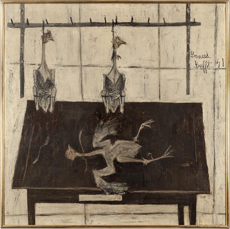 Bernard Buffet, Les poulets, 1948, Huile sur toile