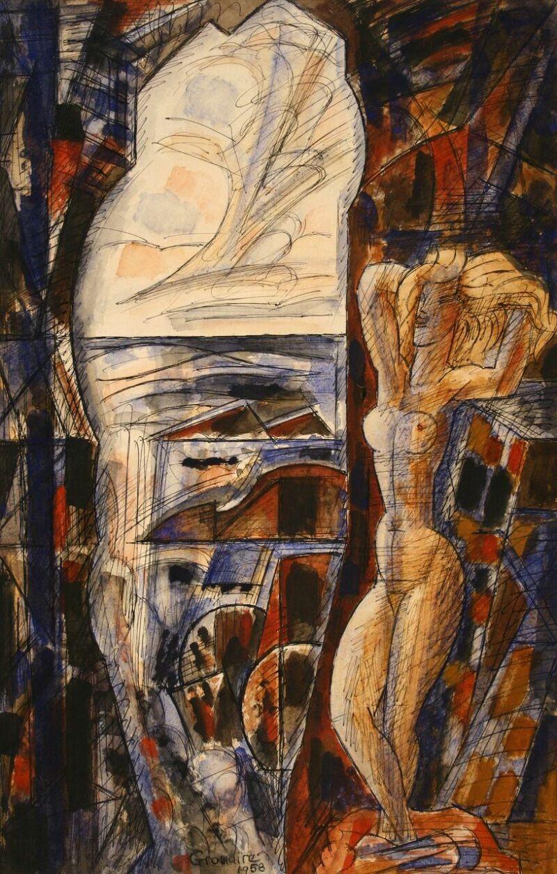 Marcel Gromaire, La falaise creuse, 1958