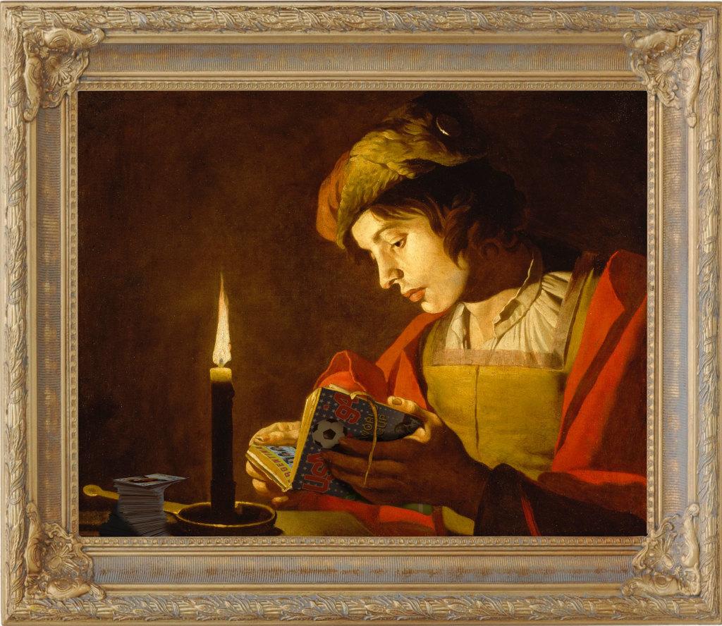 """Le collectionneur d'après """"A Young Man Reading by Candlelight"""" de Matthias Stom"""