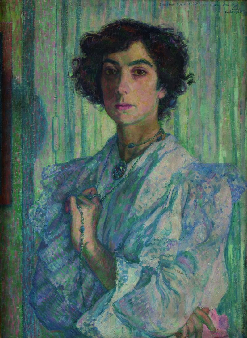 Théo Van Rysselberghe, Portrait de Madame Lucie Cousturier - Huile sur toile Collection particulière