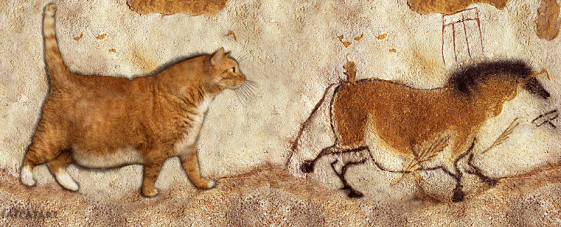 Prehistoric cave painting Fat Cat and Fat Horse Lascaux Caves