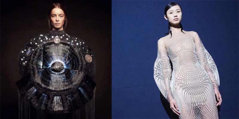 A gauche, création de Clara Daguin - A droite, création d'Iris van Herpen