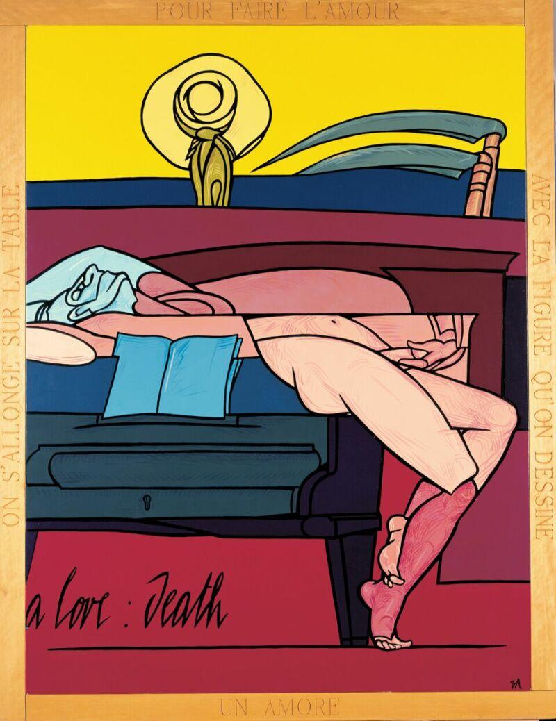 Valerio Adami, Un amore, la morte , 1990