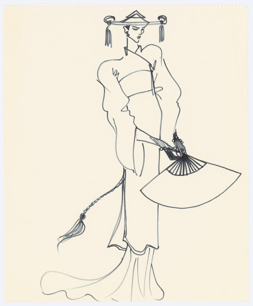 Croquis de recherche autour du lancement du parfum Opium, vers 1978, Musée Yves Saint Laurent Paris © Fondation Pierre Bergé - Yves Saint Laurent _ Tous droits réservés