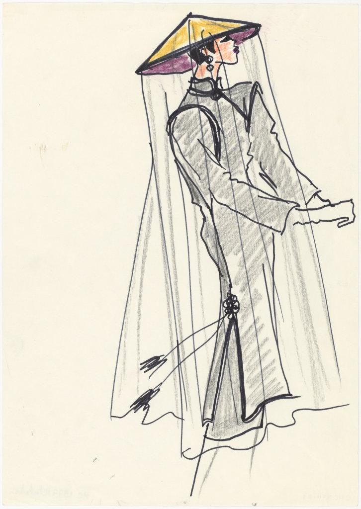 Croquis d'illustration pour la collection haute couture automne-hiver 1977, Musée Yves Saint Laurent Paris © Fondation Pierre Bergé - Yves Saint Laurent _ Tous droits réservés