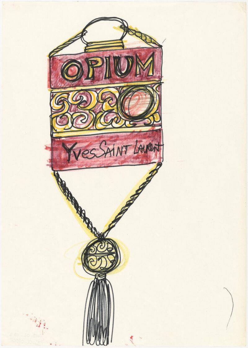 Croquis de recherche autour du flacon du parfum Opium, vers 1977, Musée Yves Saint Laurent Paris © Fondation Pierre Bergé - Yves Saint Laurent _ Tous droits réservés