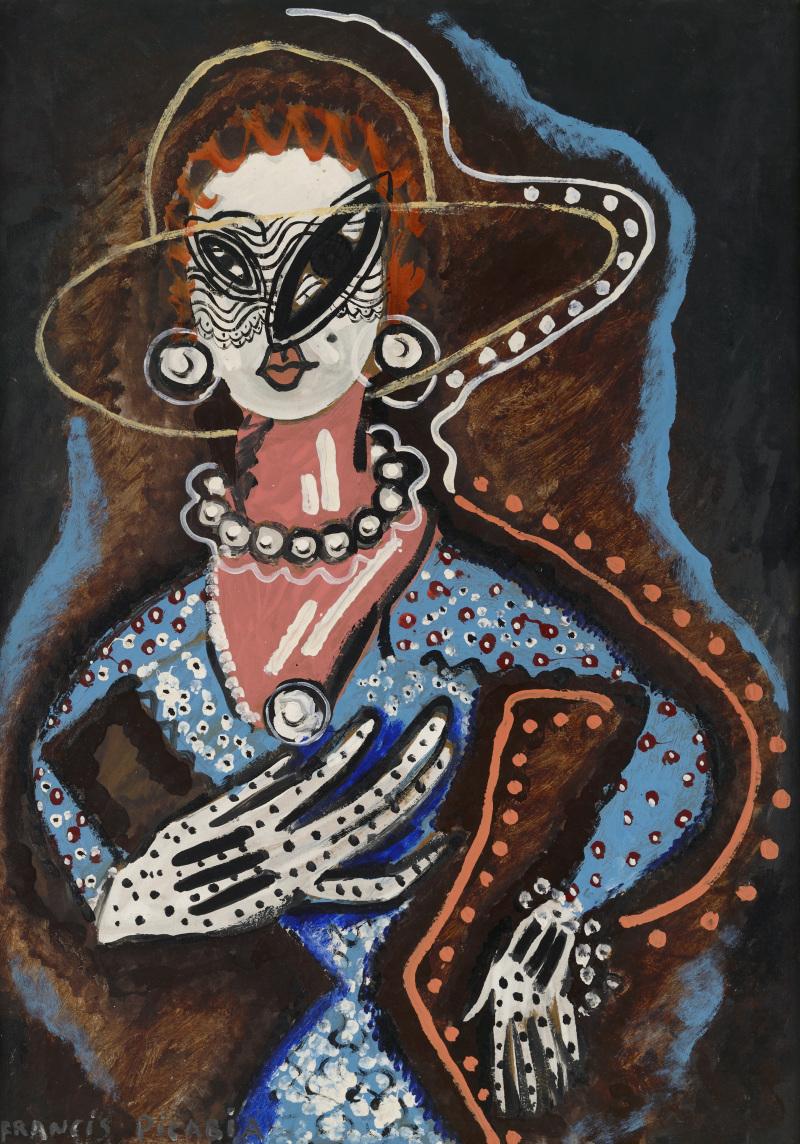 257 Francis Picabia La Femme au monocle Huile, Ripolin et crayon sur carton, 105 x 75 cm Collection particulière © ADAGP, Paris 2018