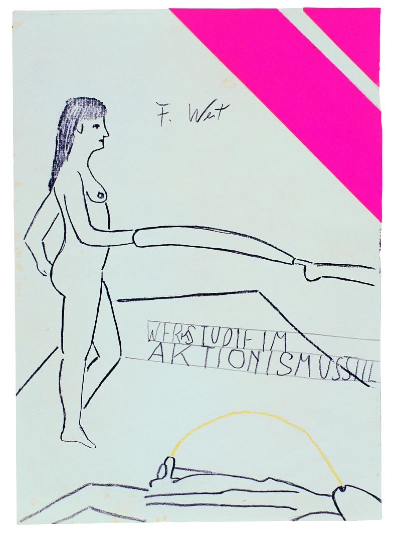 3. Franz West, Ohne Titel (Zeichnung im Aktionismusgeschmack) [Sans titre (Dessin de goût actionniste)] - vers 1974