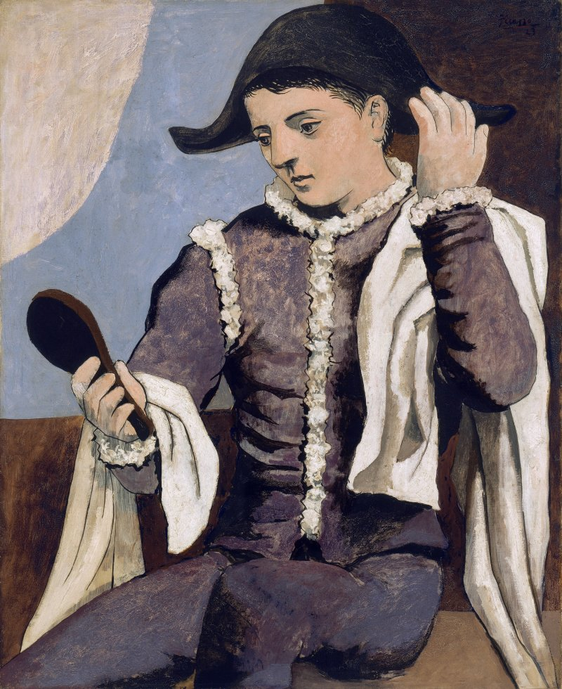 Picasso, Pablo (1881-1973): Arlequin con espejo Madrid Museo Thyssen-Bornemisza *** Permission for usage must be provided in writing from Scala.