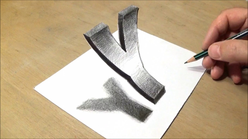 3D Pencil Sketch Letter How To Draw Floating Letter Y - Drawing 3D Trick Art With Pencil  - Drawings Inspiration