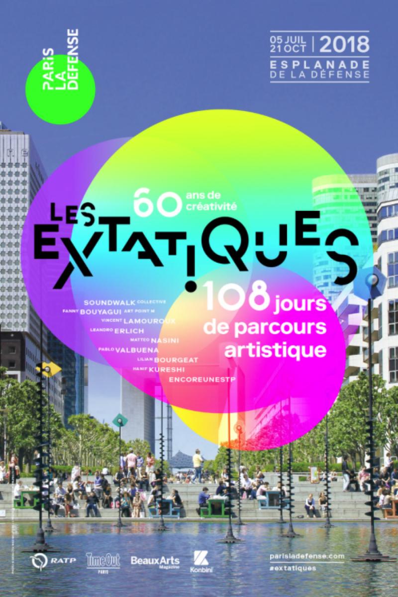 Affiche Les extatiques, 108 jours de parcours d'art contemporain