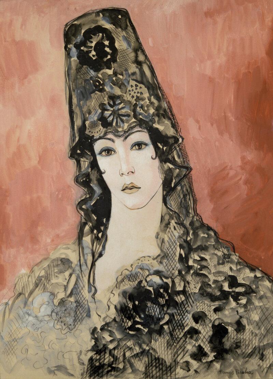 3 Francis Picabia Andalouse (Espagnole à la mantille), 1923-1926 Aquarelle sur papier, 63 x 44 cm Collection particulière © ADAGP, Paris 2018