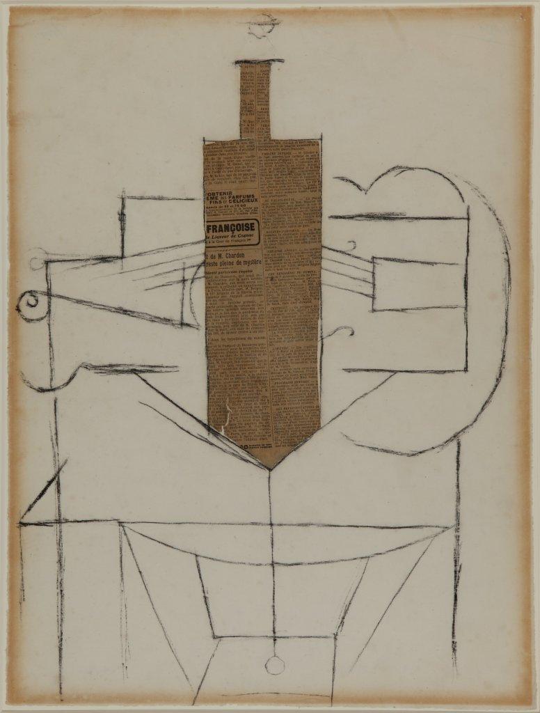 Pablo Picasso, Bouteille et violon sur une table - Picasso Picabia au Musée Granet à Aix-en-Provence.
