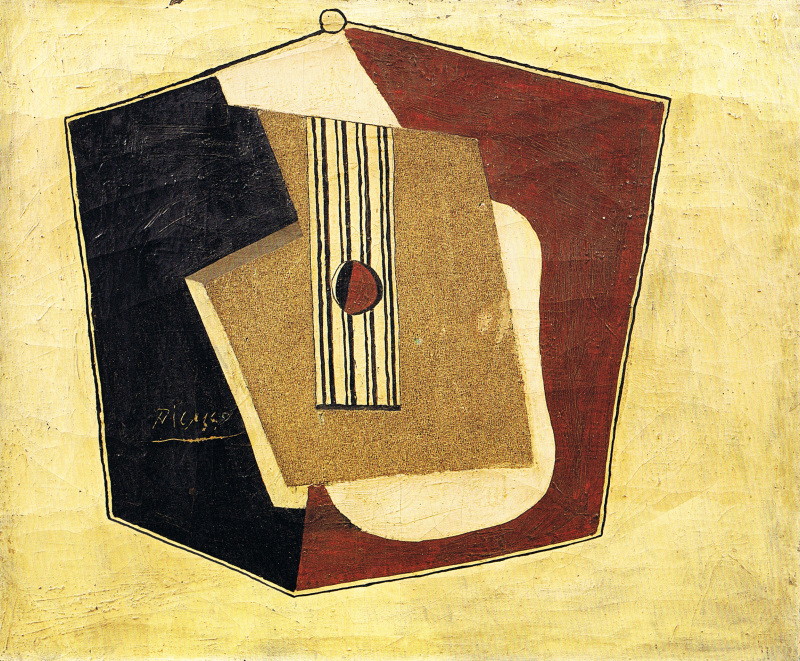 Pablo Picasso Guitare, 1918 Huile et sable sur toile, 54 x 65 cm Nahmad collection, Monaco © Succession Picasso, 2018
