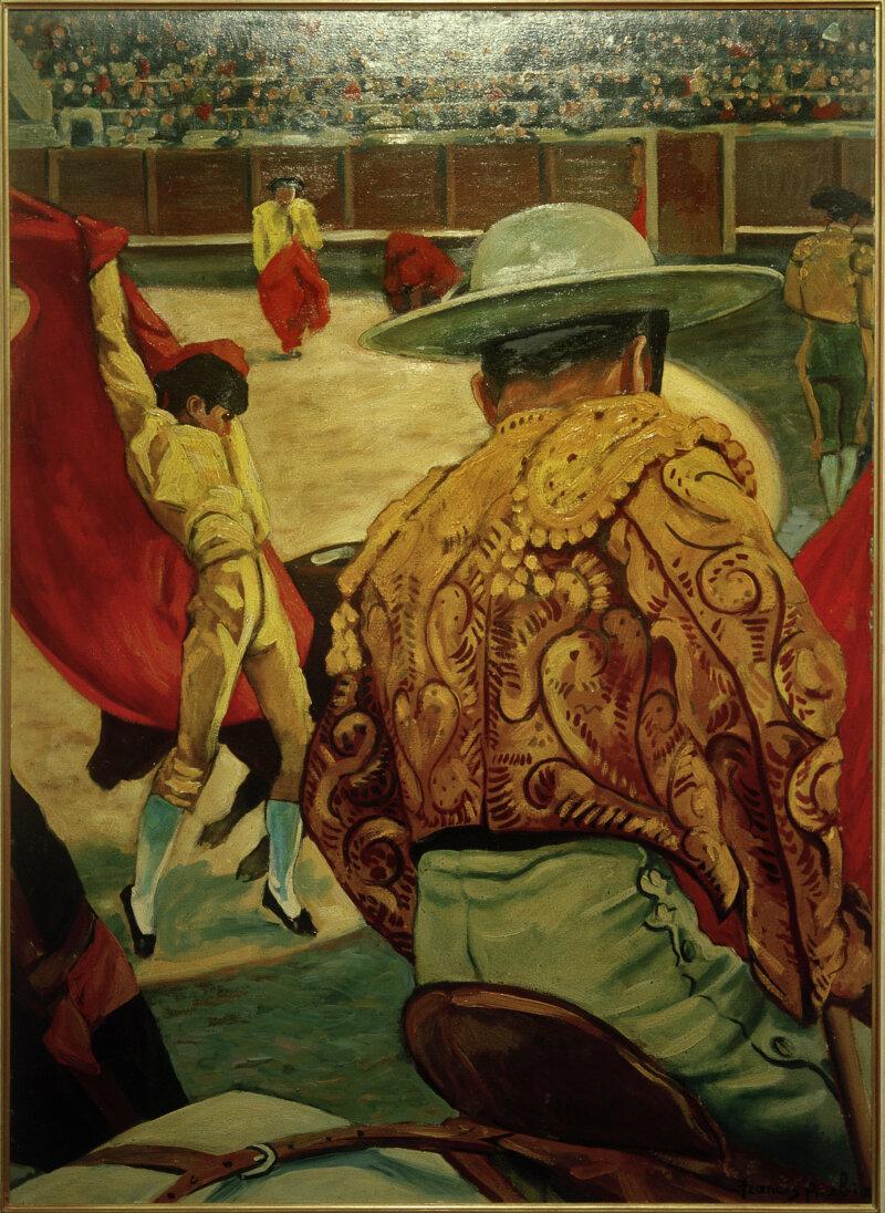 Picabia, Francis (born Francis-Marie Martinez de Picabia), 1879 – 1953, French avant-garde painter and poet.  Matador in the Arena, 1941.  Oil on card, 105 x 76 cm.  Inv. no 11608.  Musée du Petit Palais, Geneva, Switzerland.