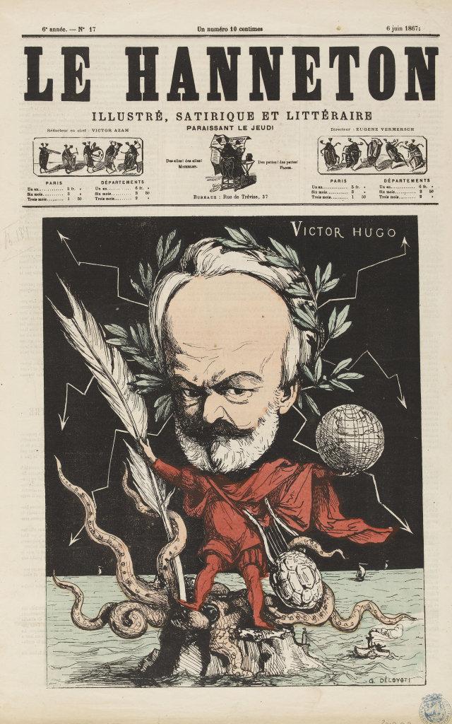 Caricature de Victor Hugo par Deloyoti dans le Hanneton