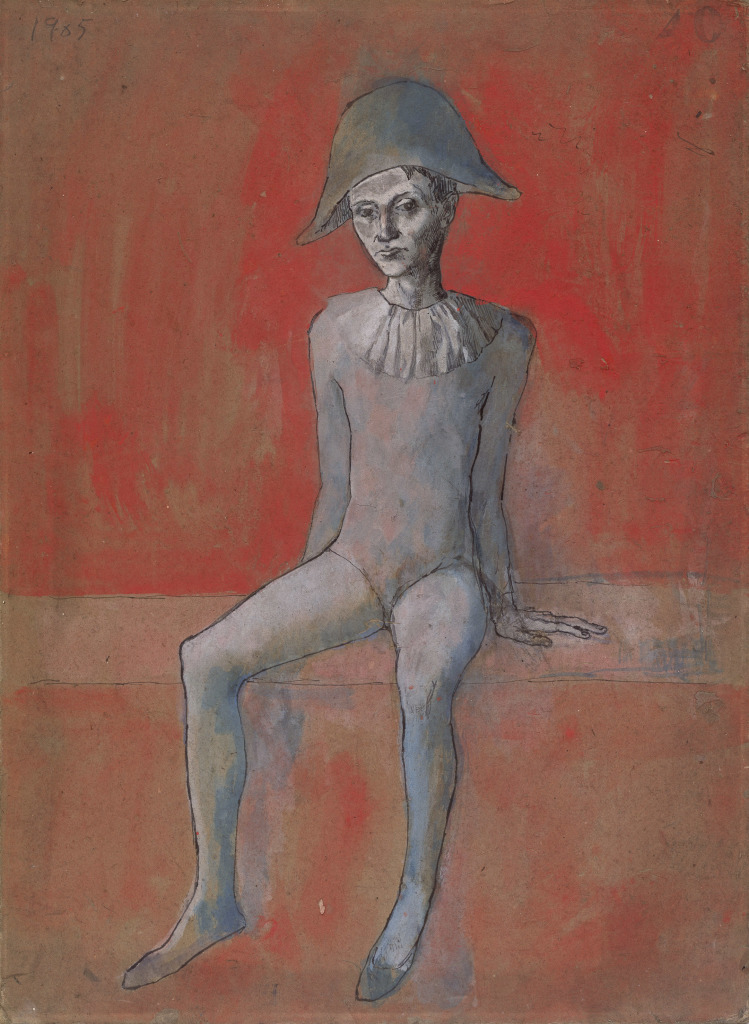 Picasso, Arlequin sur fond rouge
