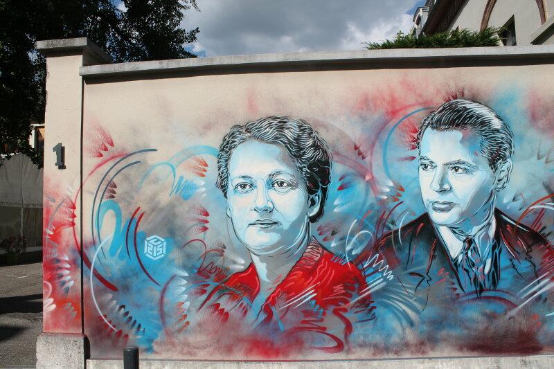 5. Germaine Tillion et Jean Moulin, par C215, à Grenoble_C215