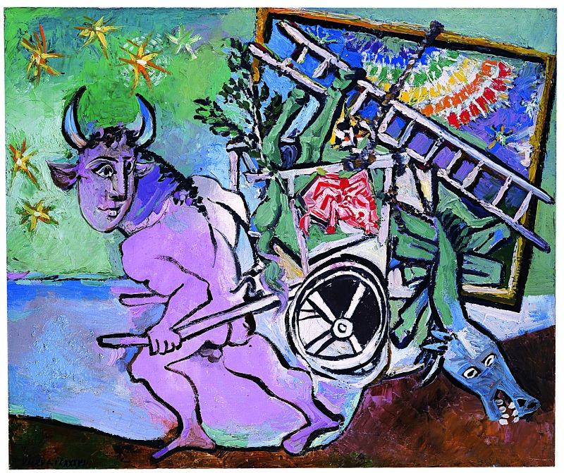 Minotaure  à  la  carriole,  Juan-les-Pins,  6  avril  1936  Huile  sur  toile  45,5    54,5  cm    Collection  particulièrePhoto  Maurice  Aeschimann  Genève